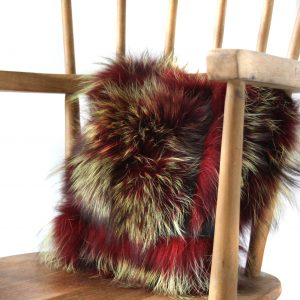 Red Silver Fox & Leather Cushion