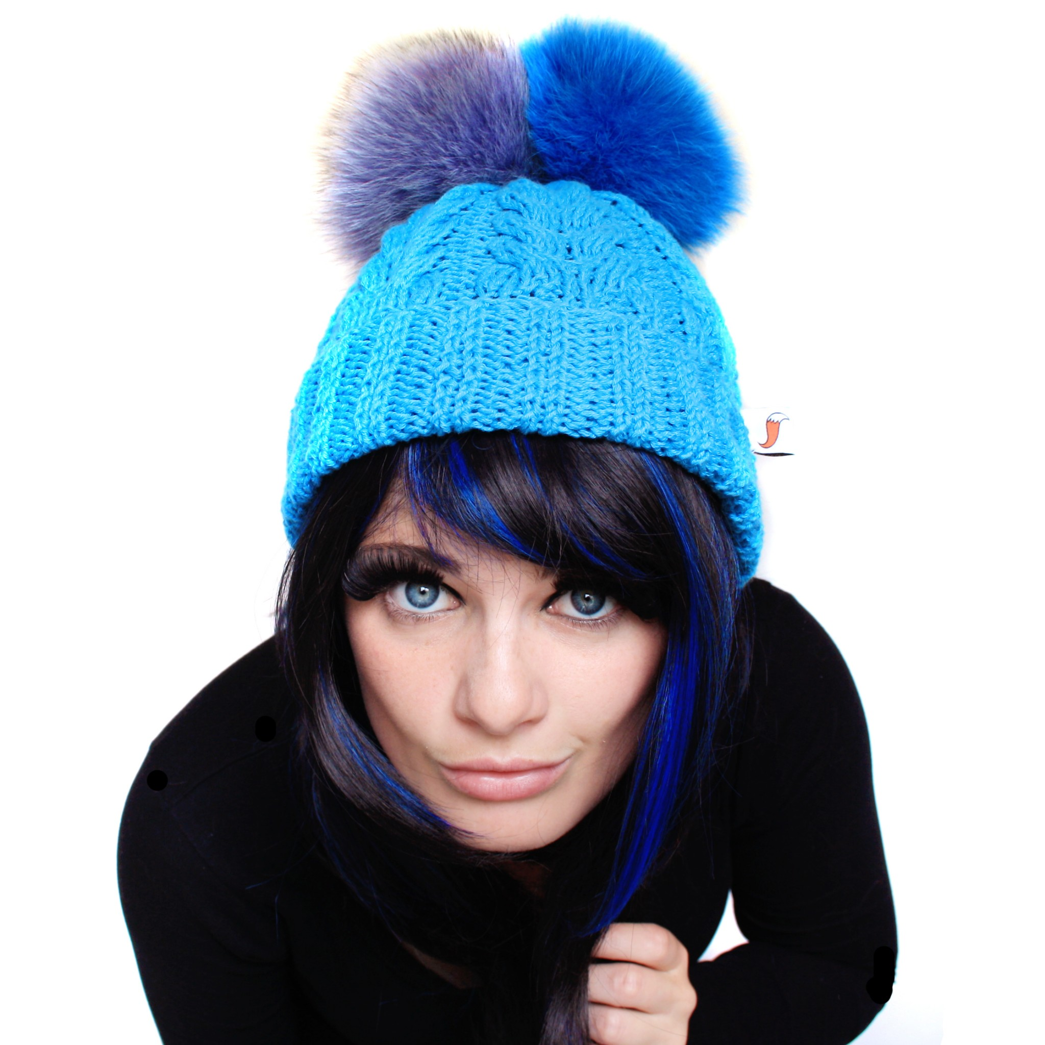 Blue Triple Pom Pom Hat