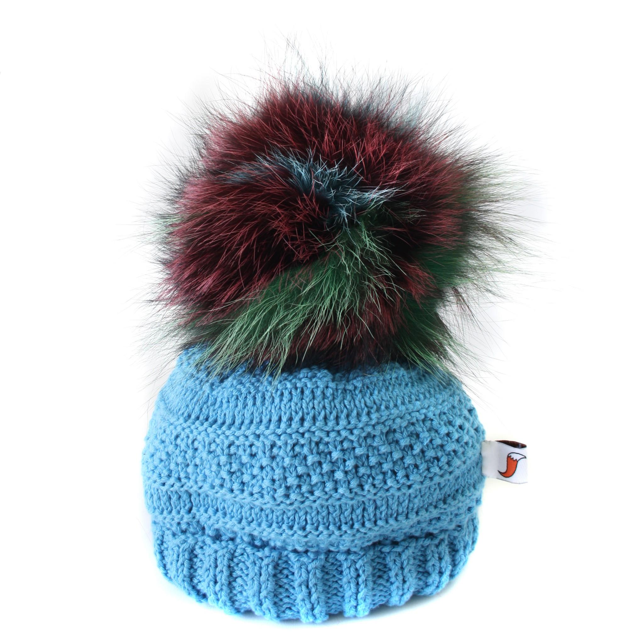 Blue Giant Pom Pom Hat - Ffwr de34226b7fb