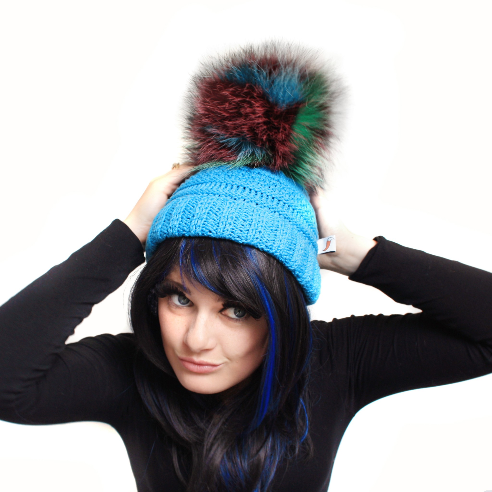 Blue Giant Pom Pom Hat