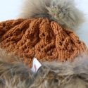 Red Fox Trim Pom Pom Hat Close Up
