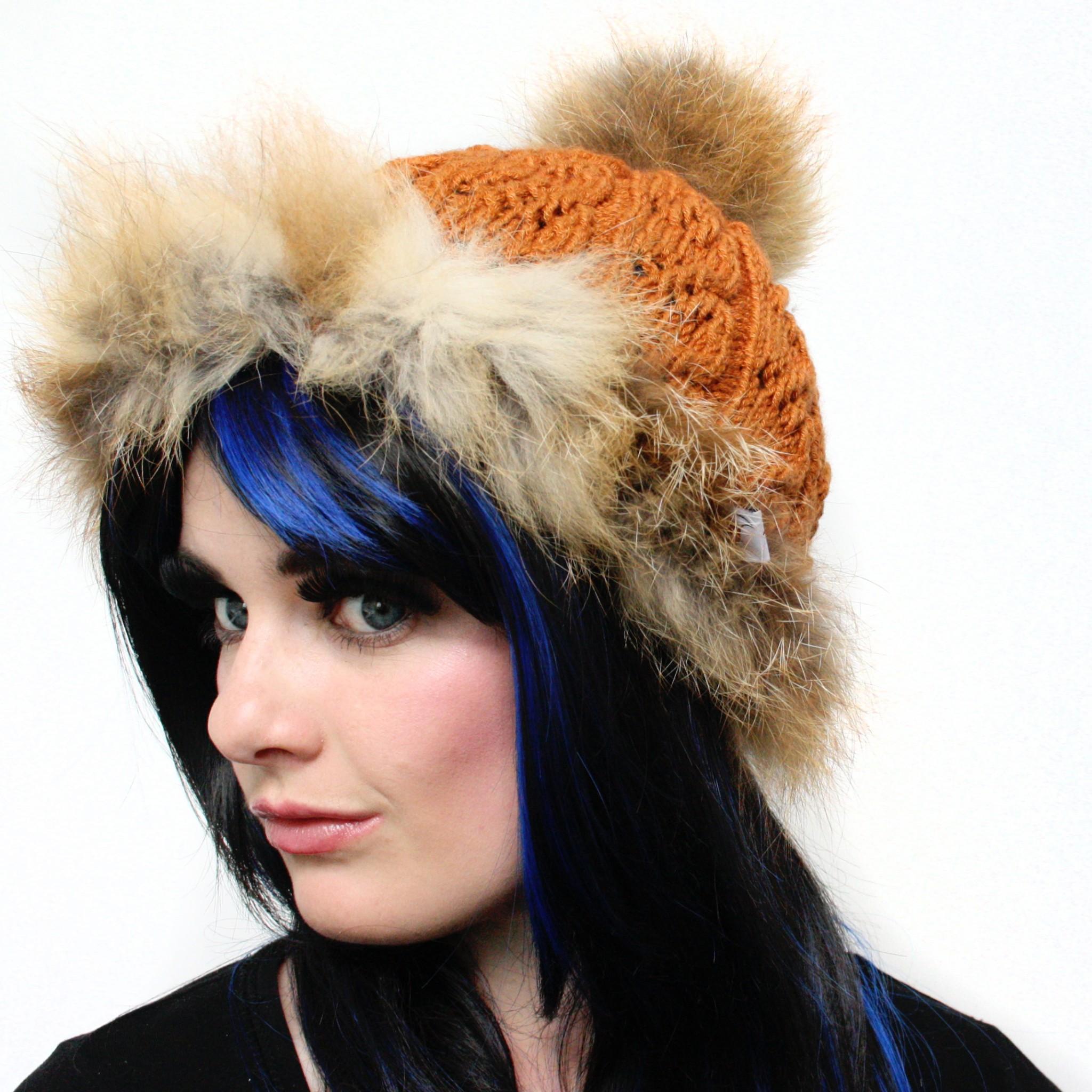 Red Fox Trim Pom Pom Hat