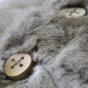 Recycled Russian Squirrel and Wood Buttons Close Up
