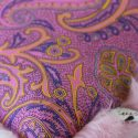 Pink and Purple Paisley Print Lining Close Up