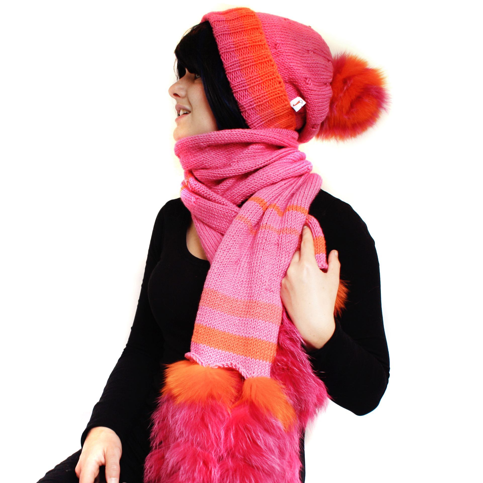 Orange Pink Fruit Salad Scarf Set