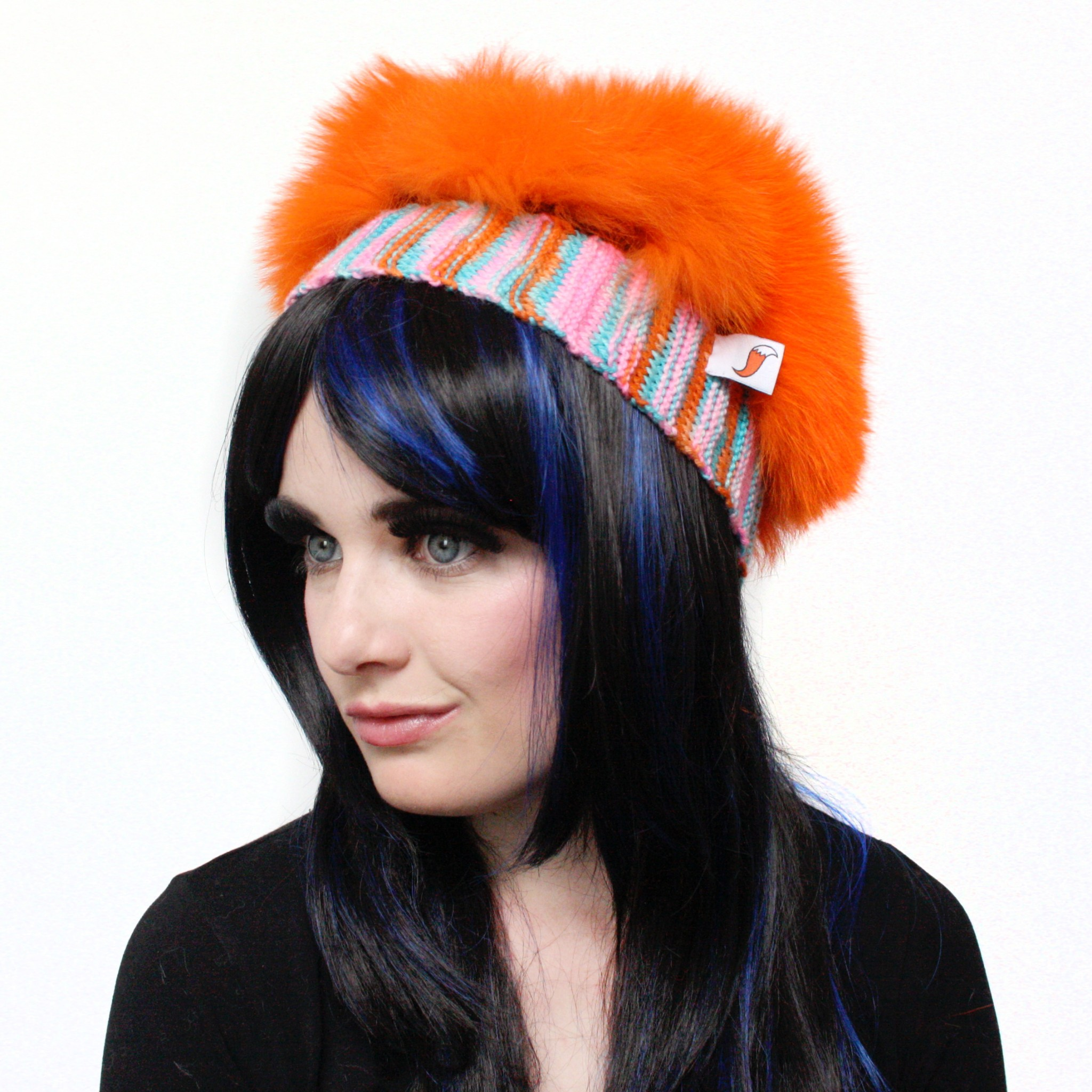 Bright Orange Clash Fox Beret