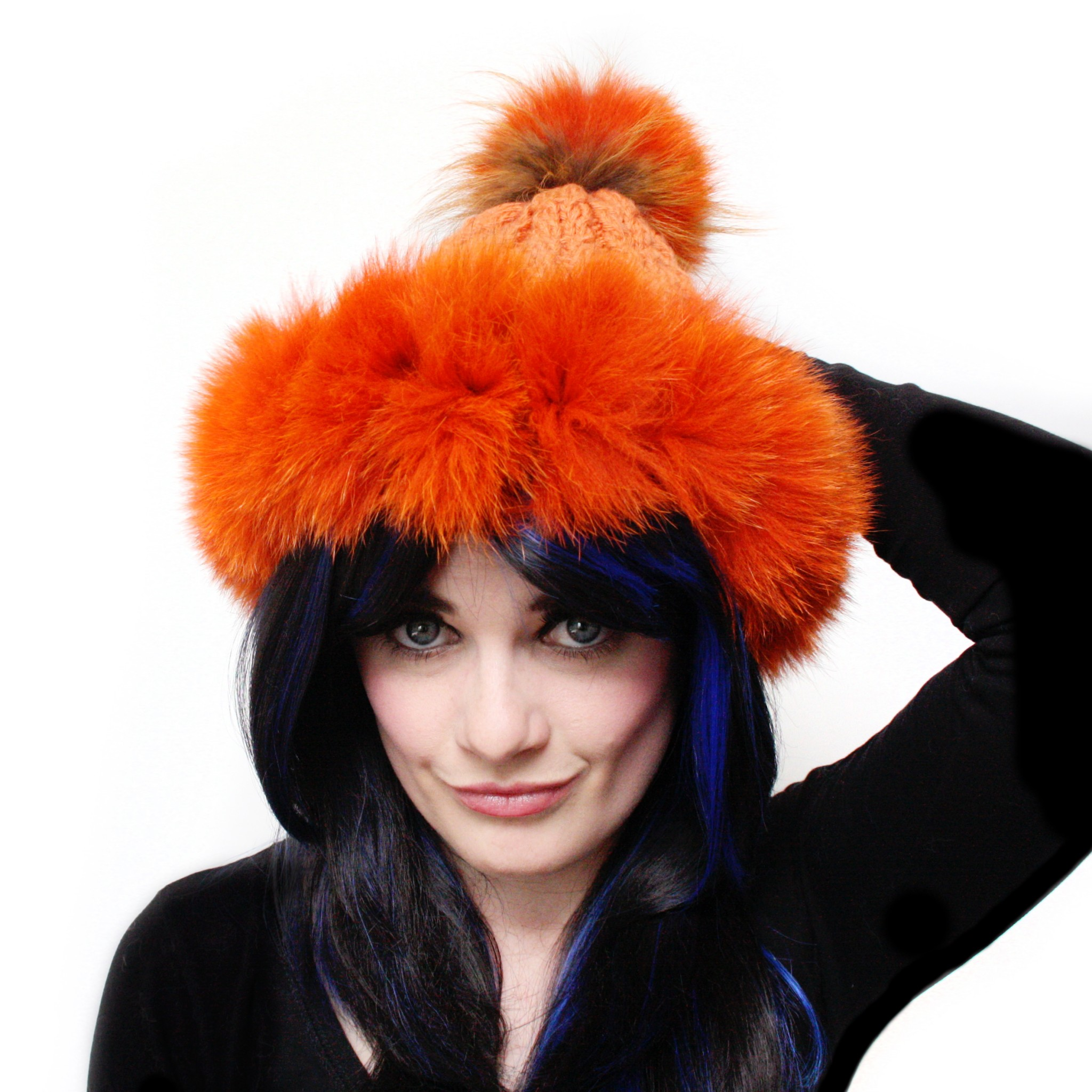 Orange Super Trim Pom Pom Hat
