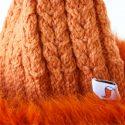 Orange Super Trim Pom Pom Hat Knit Close Up
