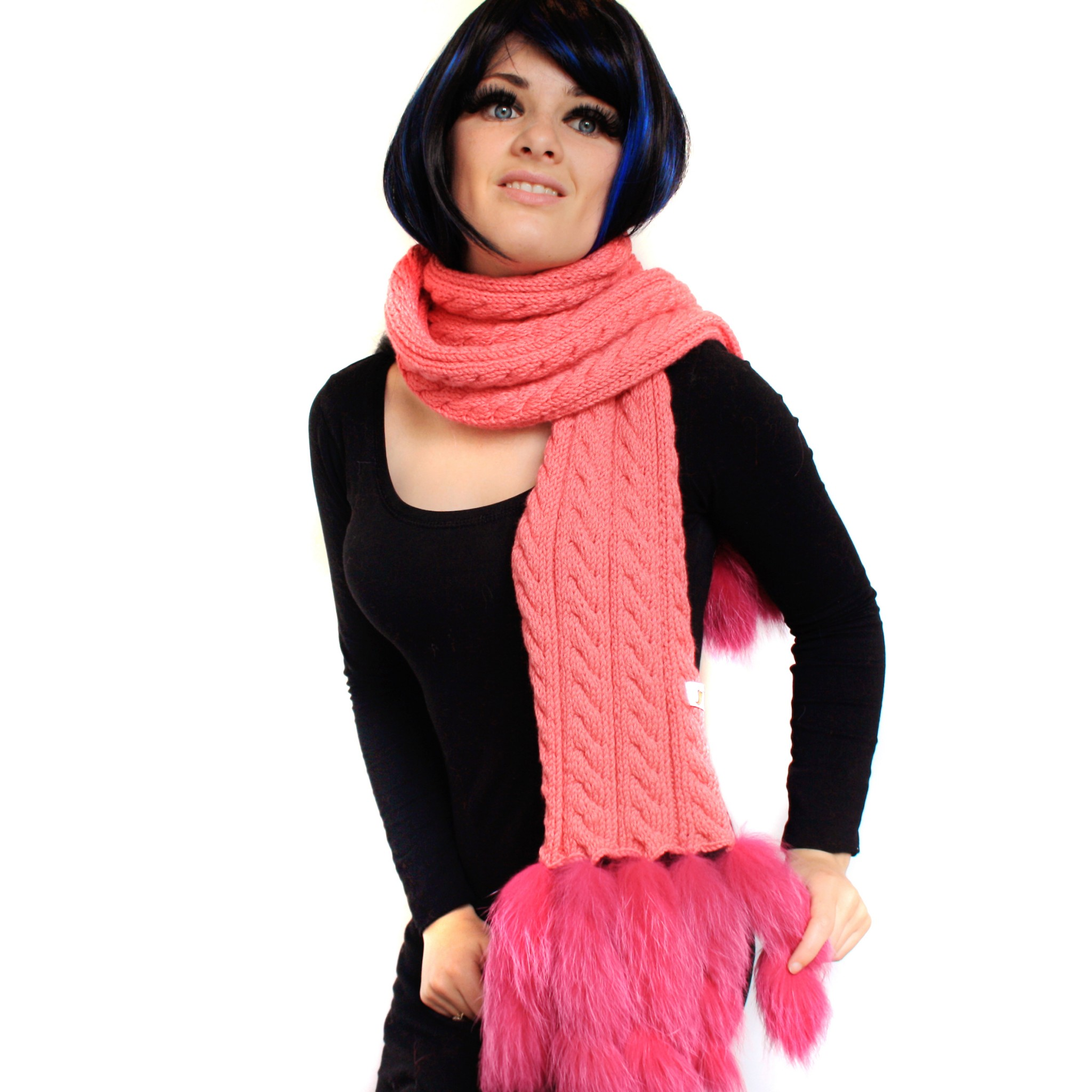 Pink Cable Knit and Fox Fur Trim Scarf