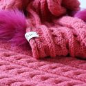 Pink Cable Knit and Fox Fur Trim Scarf Knit Close Up