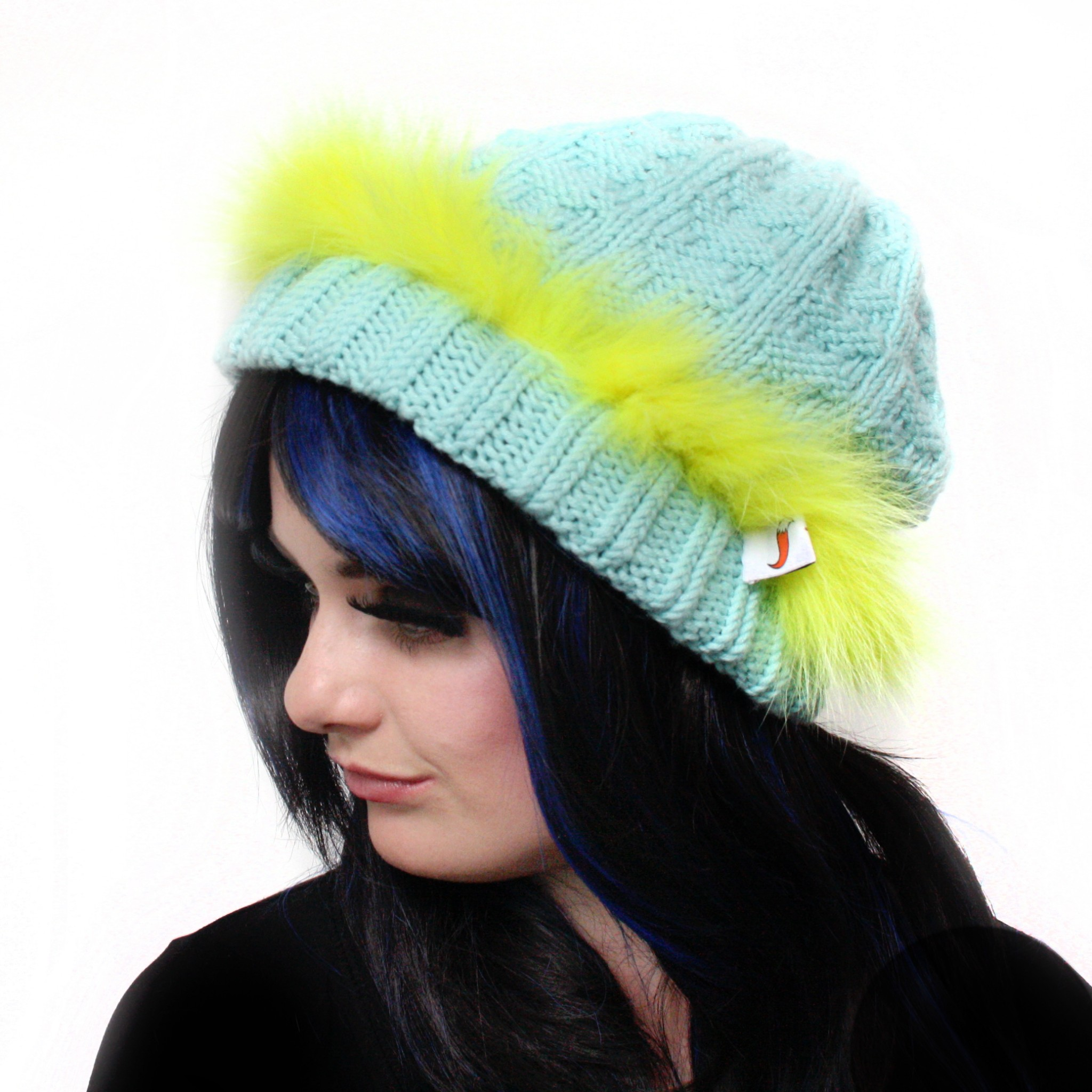 Fluorescent Yellow Trim Blue Hat