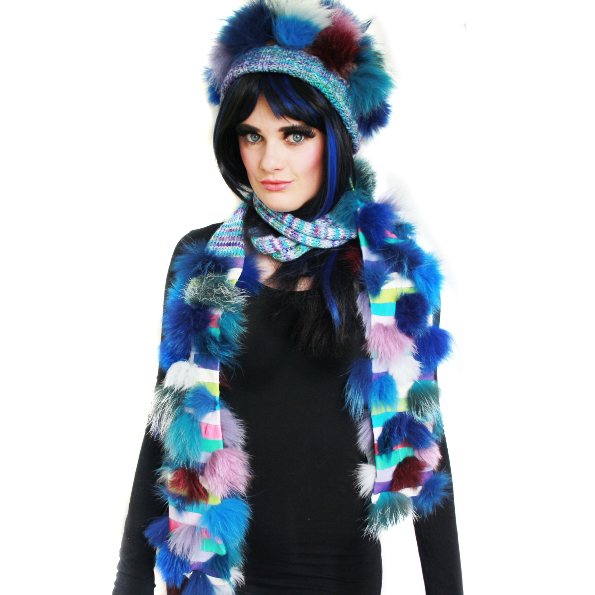 Blue Multicoloured Sea Urchin Scarf Set