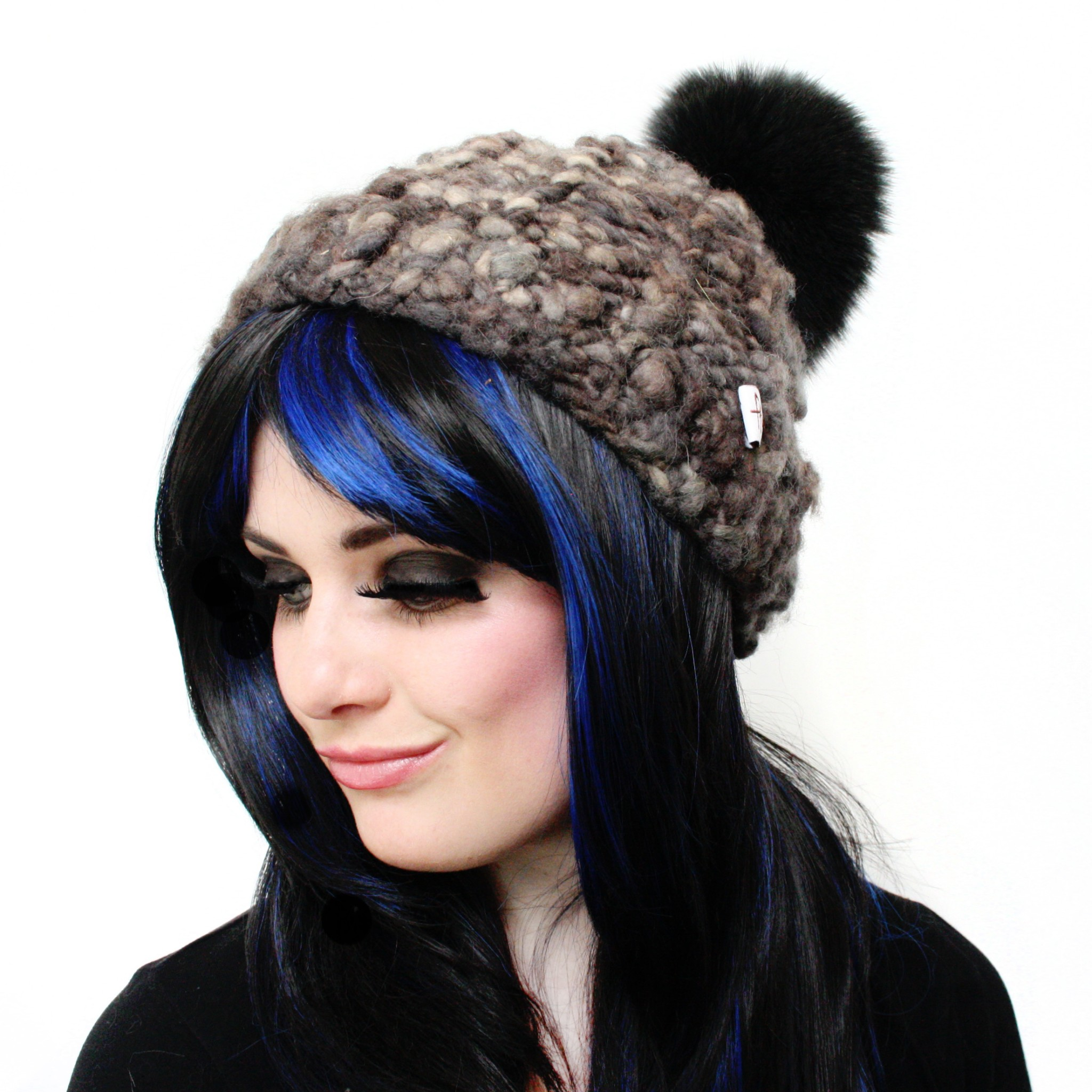 Natural Grey Wool Pom Pom Hat