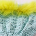 Fluorescent Yellow Trim Blue Hat Knit Close Up